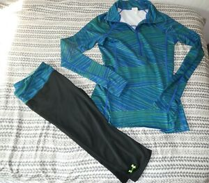 Under Armour 2 pc matching outfit fleece jacket cropped leggings s/m
