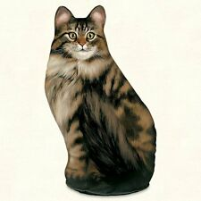 Long-Haired Tabby Cat Shaped Soft Sculpture Doorstop or Pillow