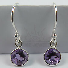 Small Earrings Natural AMETHYST Round Gems 925 Solid Sterling Silver FINE EDH