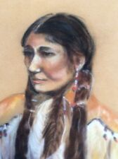 Deb Oneida Pastel Art On Velvet Original Signed Native American Woman FoundArt