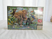 Puzzle Super 3D  Milton Bradley 24 x 18 500 Pc Jr Jungle Elephant Gorilla Birds