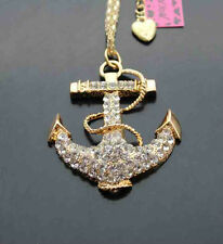 A518A #2      Betsey Johnson Crystal Anchor Rudder Pendant Chain Necklace