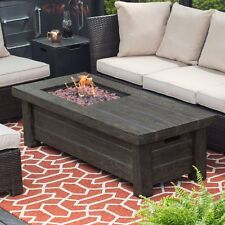 """Fire Pit Table Burner Patio Deck Outdoor Propane Fireplace 35"""" Rustic Free Cover"""