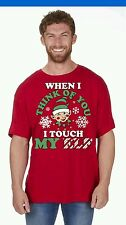 MEN'S WOMAN'S NOVELTY CHRISTMAS T SHIRT IN RED SIZE MEDIUM  RUDE FUNNIES