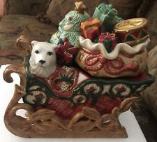 Fitz & Floyd Classics Christmas Tidings Candy Jar Polar Bear Gifts Santa Sleigh