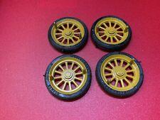 4 Schuco Räder = Reifen mit Felgen für Blechspielzeug Auto Oldtimer D