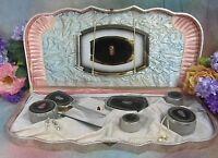 ART DECO vintage ANTIQUE Vanity SET large CASE celluloid POWDER jars MIRROR 13pc