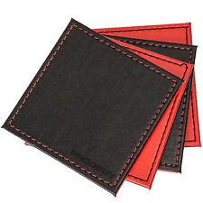 Set di 4 Reversibile Nero & Rosso Faux Leather Artisan PIAZZA Coasters bevande da scrivania
