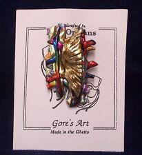 Handcrafted Multicolored Mardi Gras Graffiti Pin Gore's Made in the Ghetto Art