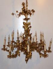 Riesiger Florentiner Deckenleuchter, Messing, vergoldet, 18-Armig