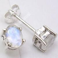 925 Silver RAINBOW MOONSTONE Stud POST Earrings .7CM