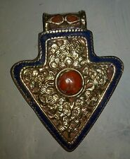 Nepalese  Brass Lapis Coral  Pendant For Necklace