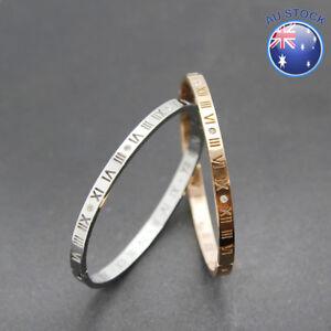 New 18K Stunning White / Rose Gold Filled Roman Numerals Crystal Bangle Bracelet