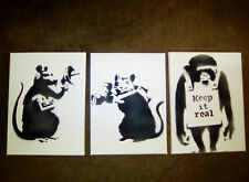 Banksy Canvas Rat Monkey Gift set of 3