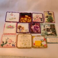 Vintage greeting card art craft stitched pieces ornaments decor hanging 12 LOT