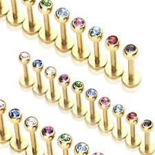 Set of TEN Diff 8mm Gold Anodized 316L Jeweled Labret/Monroes with 3mm Gemball
