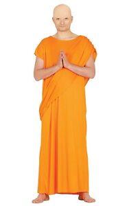 Mens Hare Krishna Fancy Dress Indian Buddhist Monk Robe Costume Orange Gown