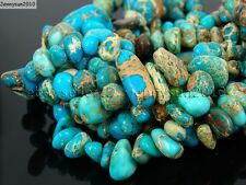 Natural Sea Sediment Jasper Gemstone Freeformed Nugget Loose Beads 15.5'' Blue