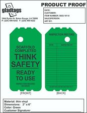 """6"""" Green Ready For Use Scaffold Tags (25 Per Pack)"""
