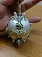 Vintage Satin Silk Styrofoam Jeweled Sequin Stick Pin Christmas Ornament