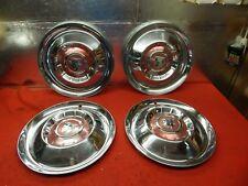 "4 USED 55 Mercury Monterey M-57 15"" Chrome Mercury Head Wheelcovers Hubcaps"