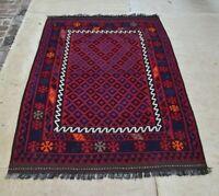 6'9 x 4'3 Antique Handwoven Afghan Kilim Wool Area Rug Carpet Tribal Kelim #3907