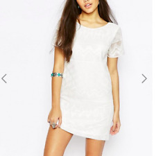 New Abercrombie & Fitch Embroidered Shift Dress White Sz- UK XS RRP-£64.00 (B1)