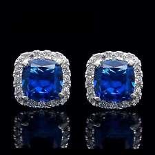 1.00CT Cushion Sapphire Halo Created Diamond Earrings 14K White Gold Studs