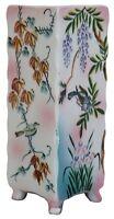 Vintage Hand Painted Porcelain Triangular Footed Vase Wall Pocket Birds Floral