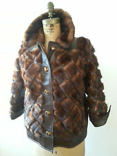 LEATHER & FUR Coat Brown Fancy Ladies Size 12 Weave Grid Fall Work Clothes Women