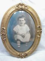 Early Gesso Wood Gold Gilt Dome Bubble Glass Picture Frame Childs Portrait Photo