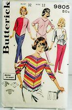 Vtg Butterick 9805 Sewing Pattern Sz 12 Junior Adult Blouse Fringe Pants