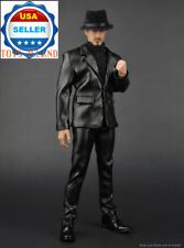 "1/6 Black Leather Business Suit Set For 12"" Hot Toys PHICEN Male Figure ❶USA❶"
