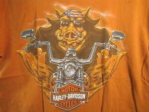 Harley Davidson Short Sleeve T-Shirt HOG H-D  Size Lg  Orange