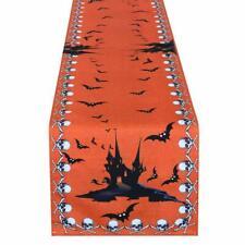 "Simhomsen Halloween Table Runner Printed Spooky Skull Bats/ Haunted House 16x72"""