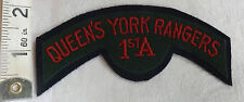 Original WWII Queen's York Rangers 1st A ,Canada Cloth Title Badge (306)