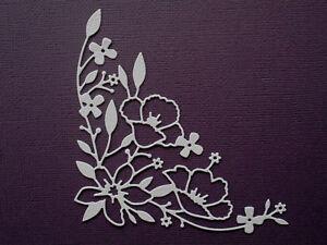 Flower Corner Flourish Die Cuts x 8 - made from Paper - Scrapbooking Card Topper