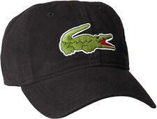 Lacoste Men's Classic Gabardine Big Croc Logo Adjustable Strap Hat Cap *BLACK