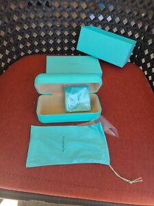Tiffany & Co. Eyeglass Sun Glass Hard Case With Cleaning Cloth Pouch pre owned