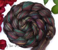 CINNAMON TEAL - Wool Roving Custom Blend Merino-Silk-Bamboo Combed Top 4 oz