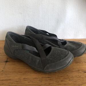 🎈 Skechers Grey Floral Memory Foam Ballet Flats Slip On Sneakers Loafers 37 7