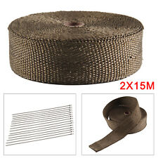 2x15m Titan Hitzeschutz band breit Auspuff Band 1400° Heat Wrap Krümmer