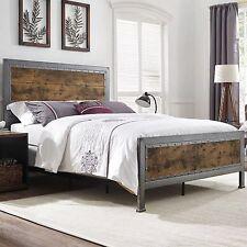 NEW Queen Size Metal Bed Frame Industrial Brown Rustic Oak Wood Headboard Footer