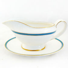 SATURN TURQUOISE by Minton Gravy Boat & Stand NEW NEVER USED made in England