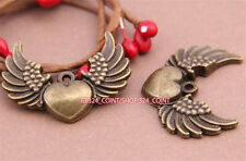P597 5pc Antique Bronze heart wings Pendant Bead Charms Accessories wholesale