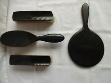 Vintage Kent Real Ebony Pure Bristle Brush Set x 3 Plus Mirror Made In England