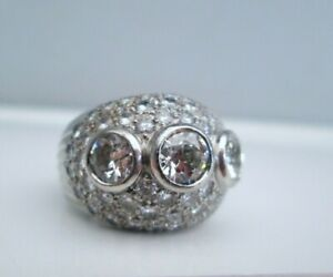 Vintage Antique French 18ct White Gold & Platinum 4.95ct Old Cut Diamond Ring