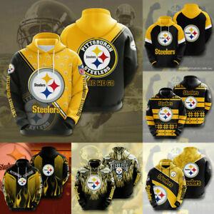Pittsburgh Steelers Hoodie Men Football Hooded Sweatshirt Casual Jacket Pullover