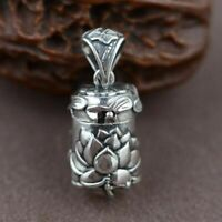 Real 925 Sterling Silver Buddha Lockets Mantra Lotus Pendants Openable Antique
