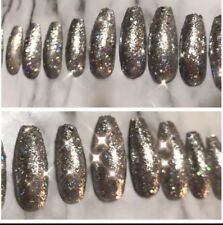 Set Of Painted  glitter Long Coffin False  Nails